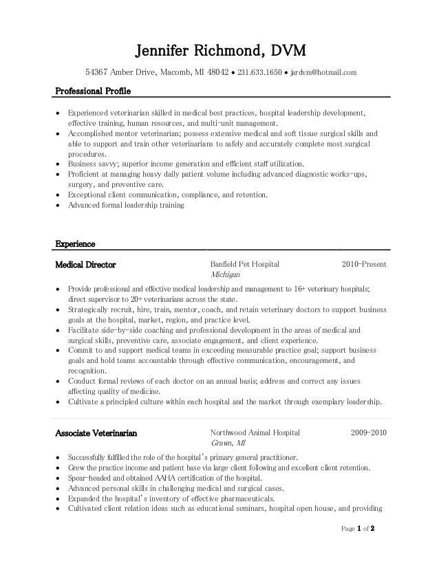 Veterinarian resume