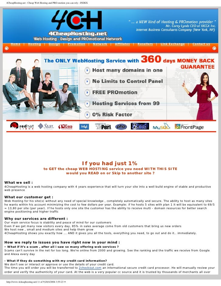 4CheapHosting.net : Cheap Web Hosting and PRO-motion you can rely : INDEX          Home        |    Hosting        |    De...