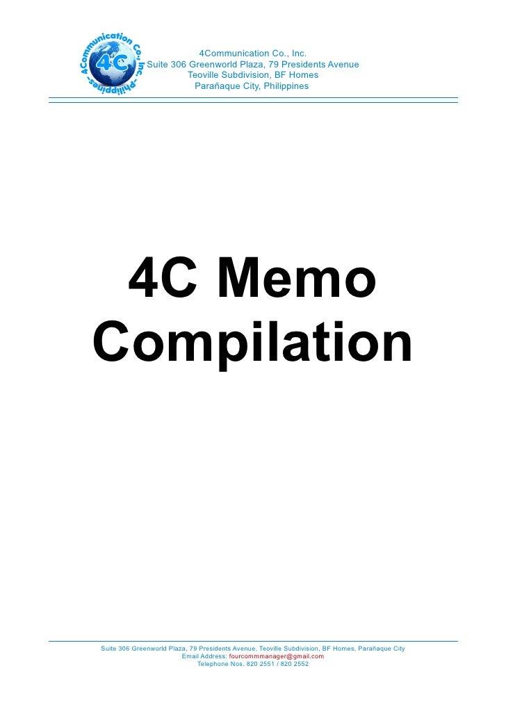 4Communication Co., Inc.              Suite 306 Greenworld Plaza, 79 Presidents Avenue                       Teoville Subd...