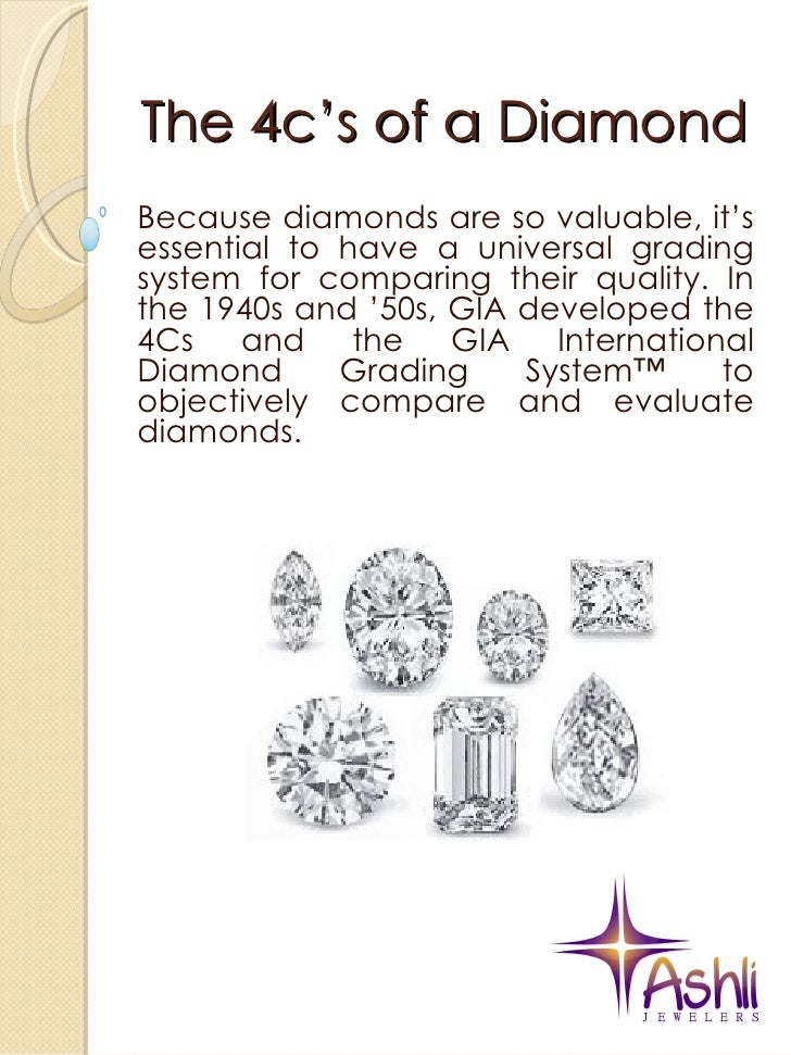 The 4c's of a Diamond Because diamonds are so valuable, it's essential to have a universal grading system for comparing th...