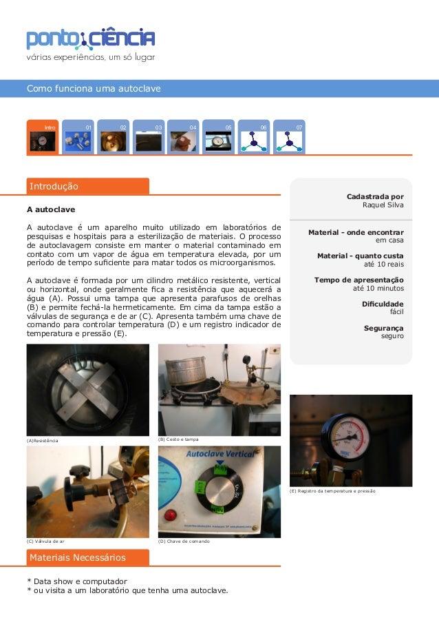 Como funciona uma autoclave 070402 0503 06 Introdução 01Intro Cadastrada por Raquel Silva Material - onde encontrar em cas...