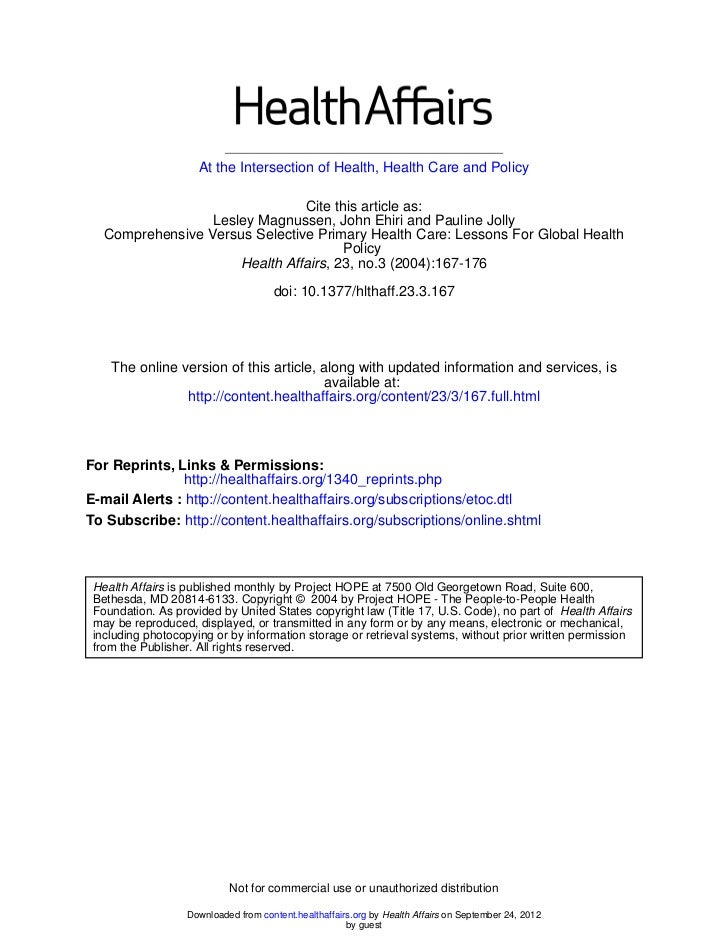 At the Intersection of Health, Health Care and Policy                                Cite this article as:                ...