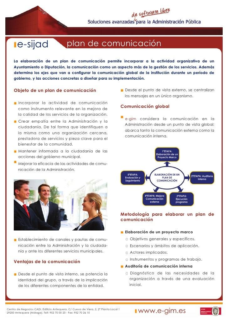 e-sijad                              plan de comunicación      La elaboración de un plan de comunicación permite incorpora...