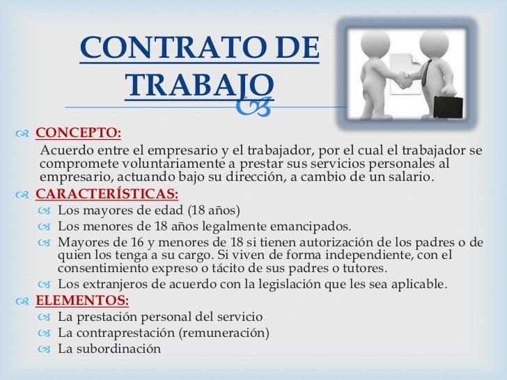 CONTRATO DE            TRABAJO                                    CONCEPTO:  Acuerdo entre el empresario y el trabajador...