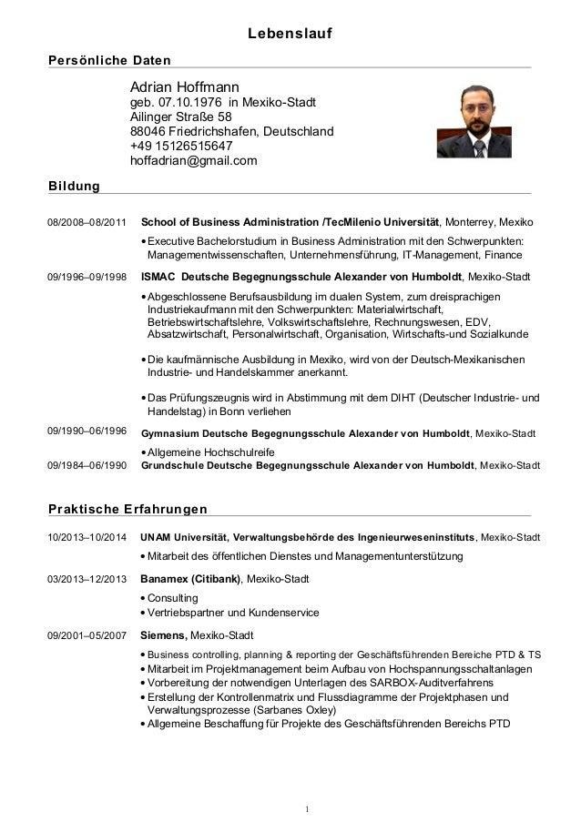 Lebenslauf Persönliche Daten Adrian Hoffmann geb. 07.10.1976 in Mexiko-Stadt Ailinger Straße 58 88046 Friedrichshafen, Deu...