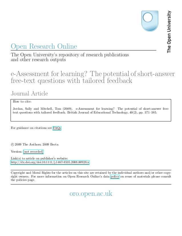 Open Research OnlineThe Open University's repository of research publicationsand other research outputse-Assessment for le...
