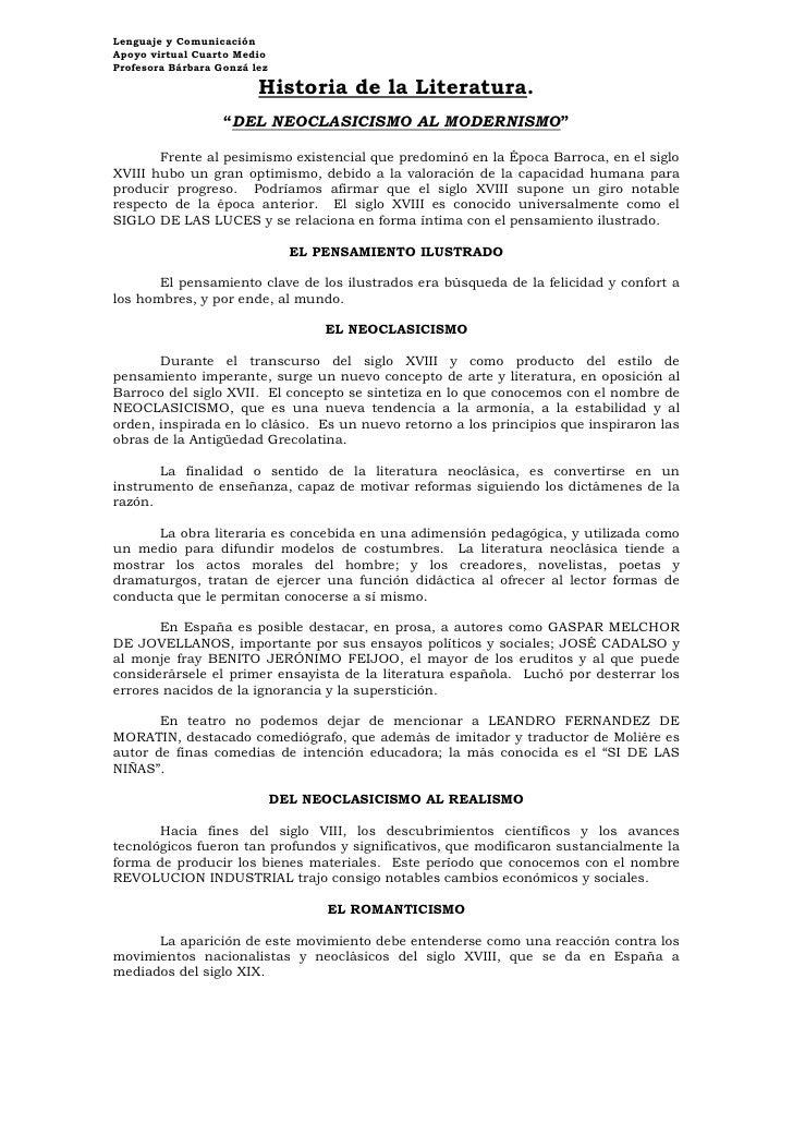 Lenguaje y ComunicaciónApoyo virtual Cuarto MedioProfesora Bárbara Gonzá lez                         Historia de la Litera...