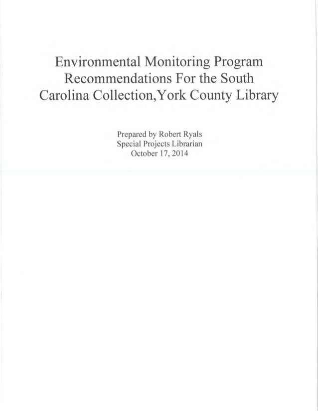 ENVIRONMENTAL MONITORING PROGRAM RECOMMENDATIONS