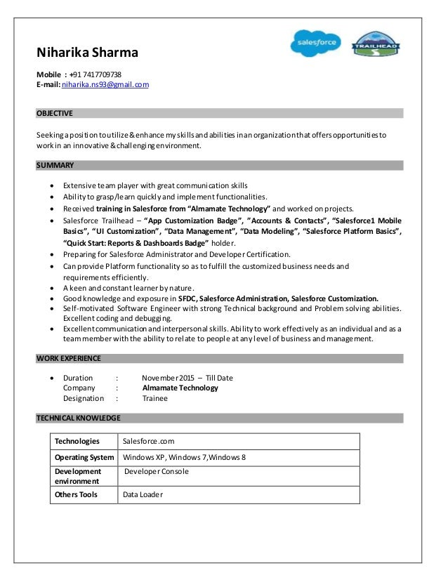 salesforce administrator resume salesforce administrator