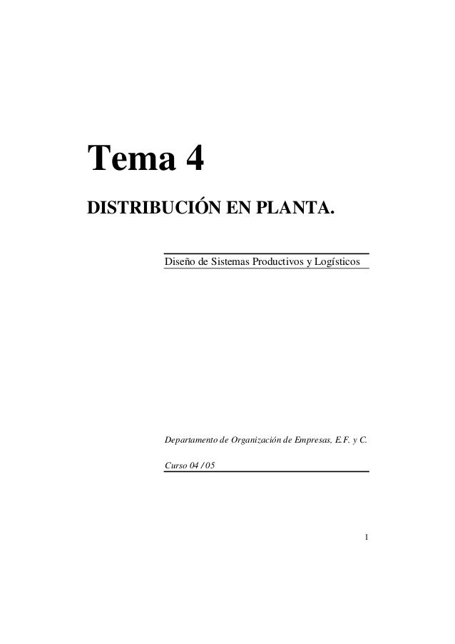 Tema 4 DISTRIBUCIÓN EN PLANTA. Diseño de Sistemas Productivos y Logísticos  Departamento de Organización de Empresas, E.F....