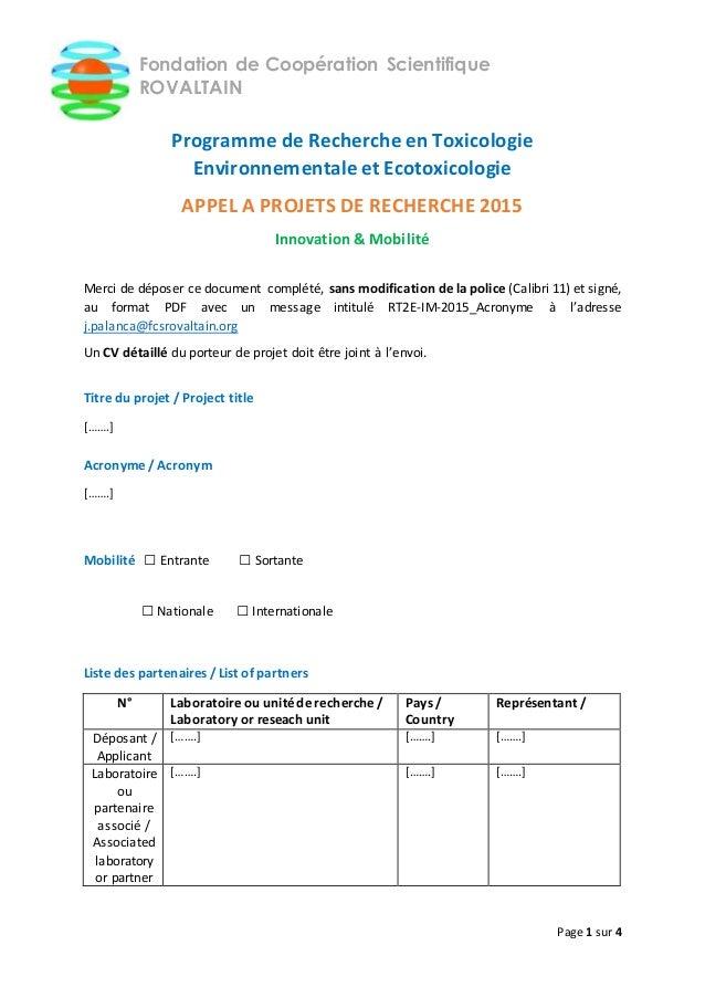 Page 1 sur 4 Fondation de Coopération Scientifique ROVALTAIN Programme de Recherche en Toxicologie Environnementale et Eco...