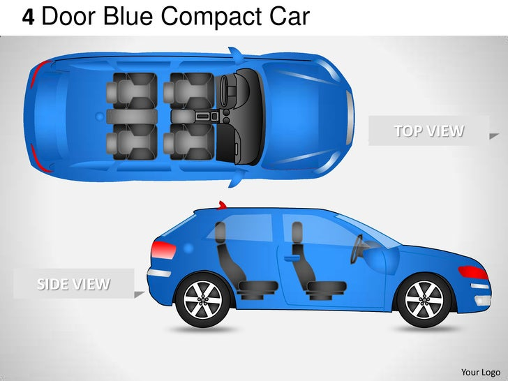 4 door blue car side view powerpoint presentation templates