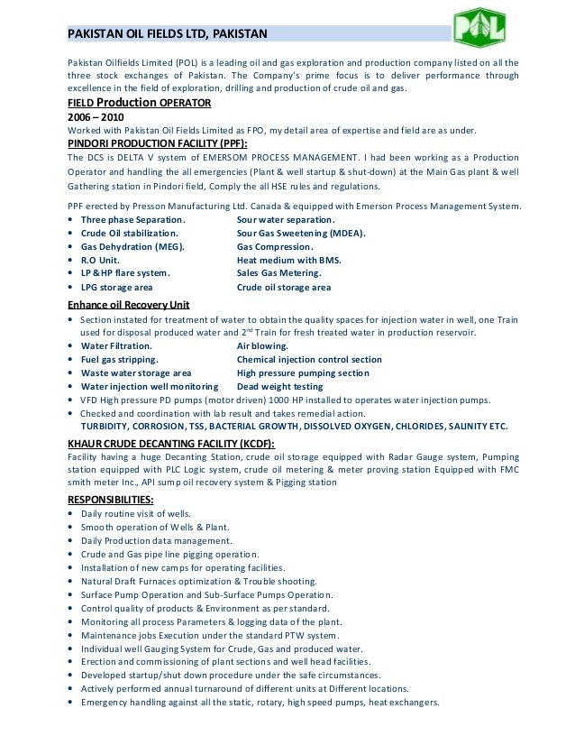 Oil Field Resume. Field Production Operator Cv .