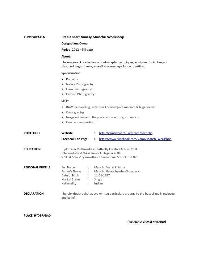 Vamsy Manchu Graphic Designer Resume