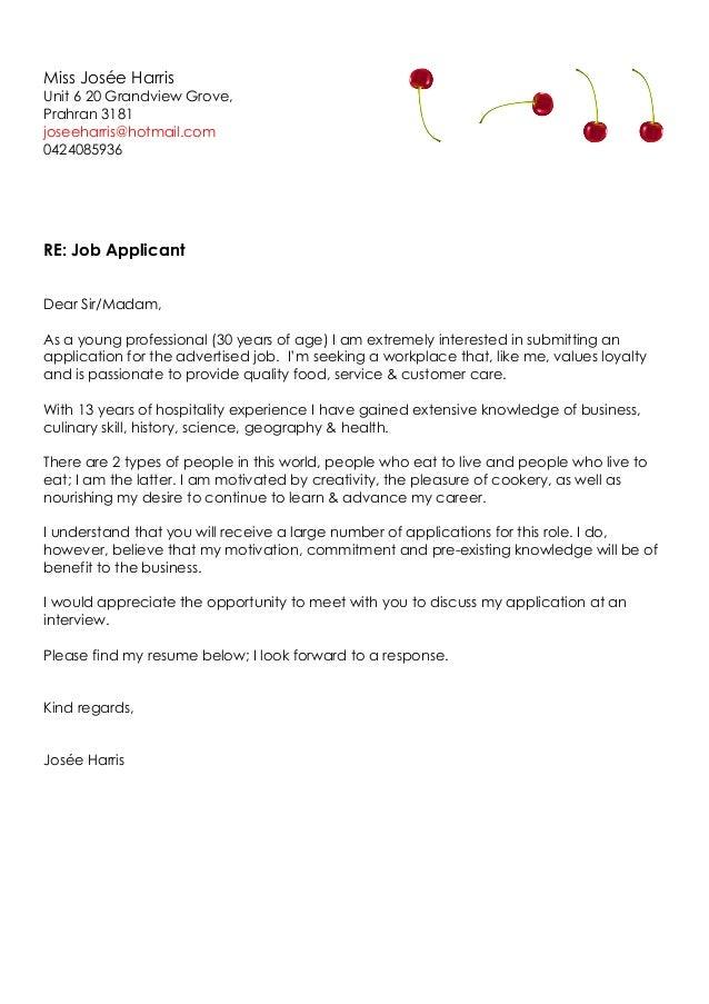 miss josee harris cover letter  u0026 cv