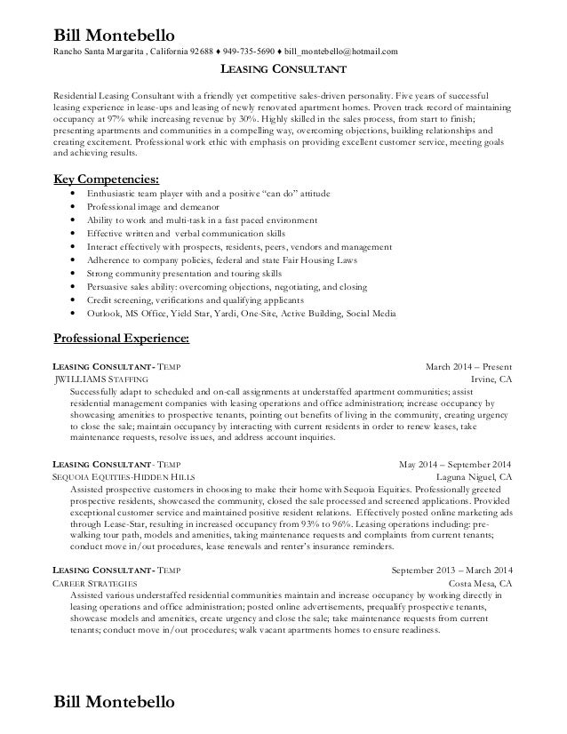 Resume for apartment leasing consultant