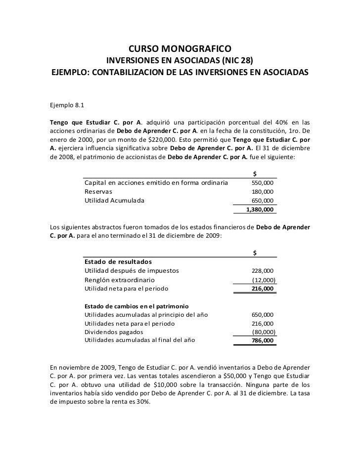 CURSO MONOGRAFICO            INVERSIONES EN ASOCIADAS (NIC 28)EJEMPLO: CONTABILIZACION DE LAS INVERSIONES EN ASOCIADASEjem...