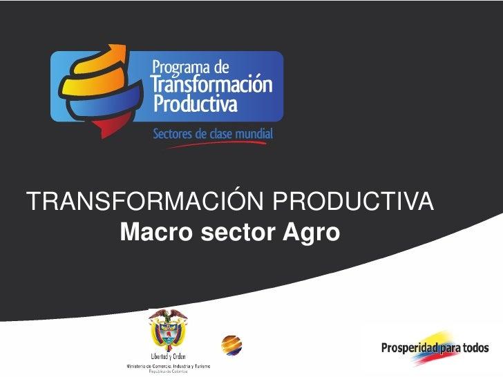TRANSFORMACIÓN PRODUCTIVATRANSFORMACIÓN PRODUCTIVA LOGROS 2011 Y METAS      Macro sector Agro 2012
