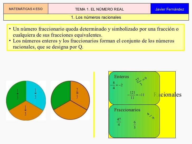 Los números racionales <ul><li>Un número fraccionario queda determinado y simbolizado por una fracción o cualquiera de sus...