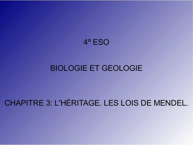 4º ESO BIOLOGIE ET GEOLOGIE  CHAPITRE 3: L'HÉRITAGE. LES LOIS DE MENDEL.
