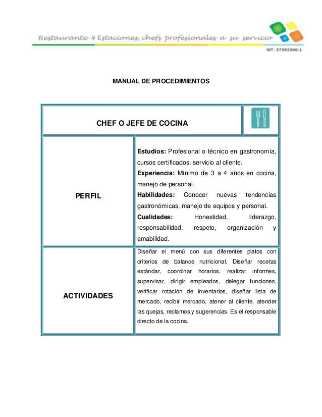 4 estaciones restaurante 4 for Manual de procedimientos de cocina