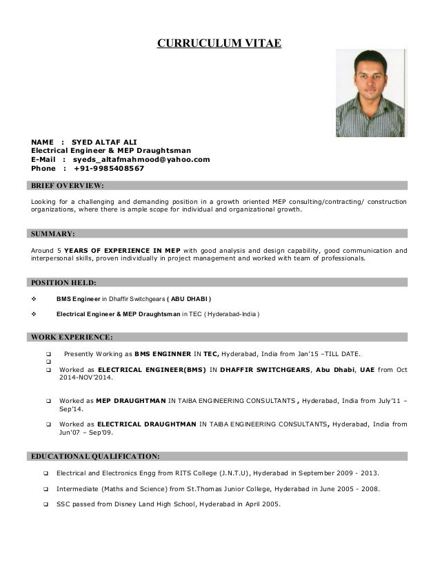 electrical engineer and mep draughtman syed altaf ali 2015
