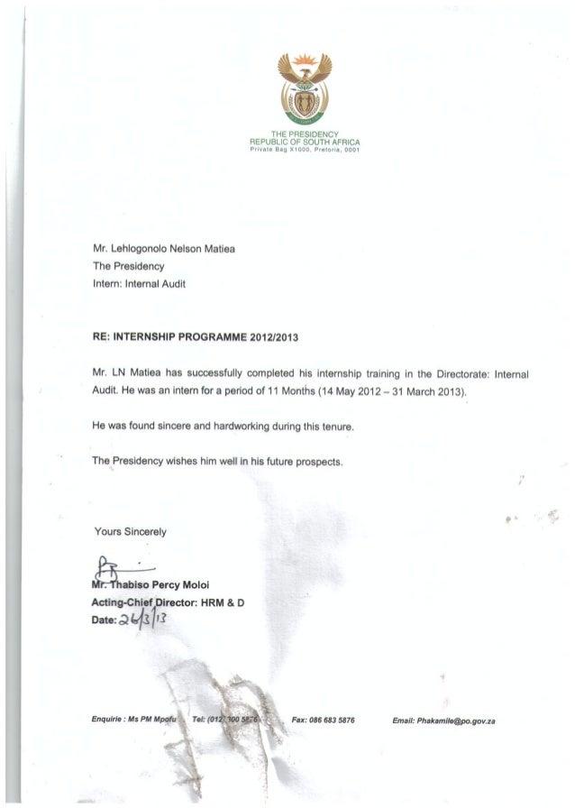 Letter proof of completion of internship