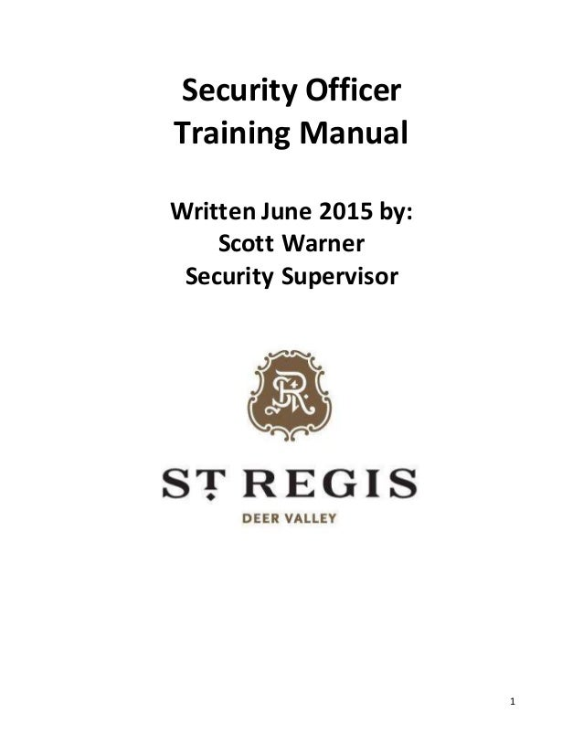 Security officer training manual - Security officer training online ...
