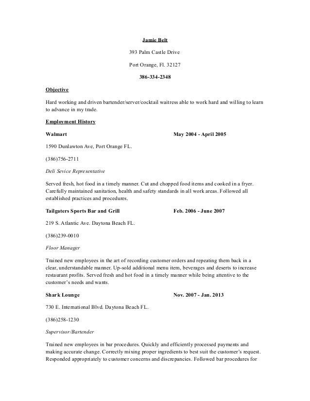 Restaurant resume
