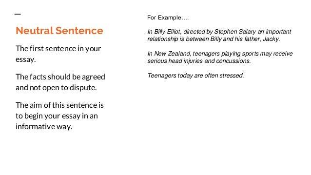 First Sentence in an Essay?
