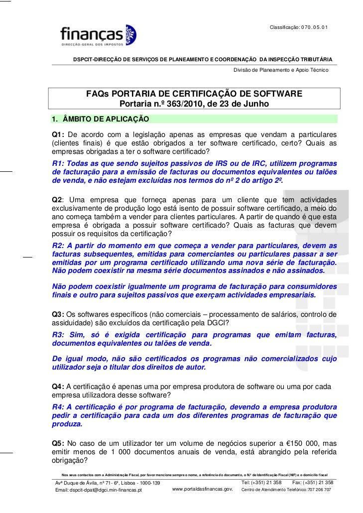 Classificação: 0 7 0 . 0 5 . 0 1          DSPCIT-DIRECÇÃO DE SERVIÇOS DE PLANEAMENTO E COORDENAÇÃO DA INSPECÇÃO TRIBUTÁRIA...
