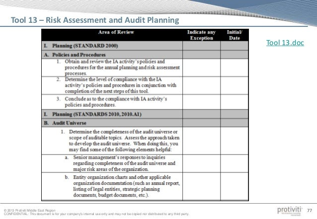 audit workpaper template - internal audit quality assessment