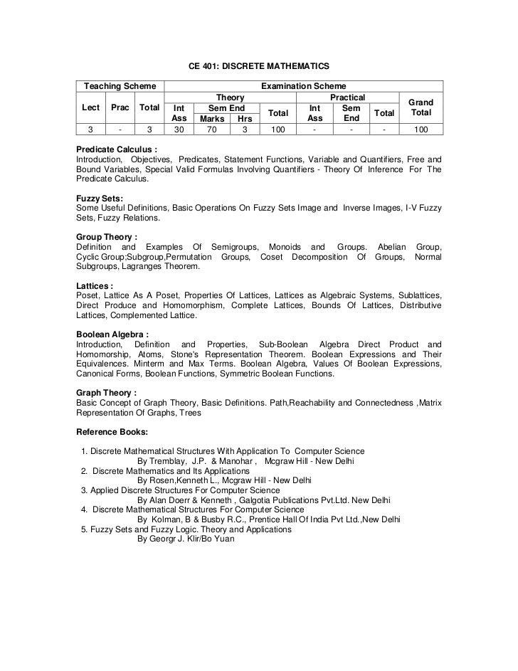 CE 401: DISCRETE MATHEMATICS  Teaching Scheme                              Examination Scheme                             ...