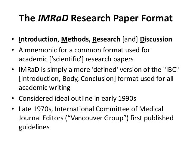 imrad research paper format