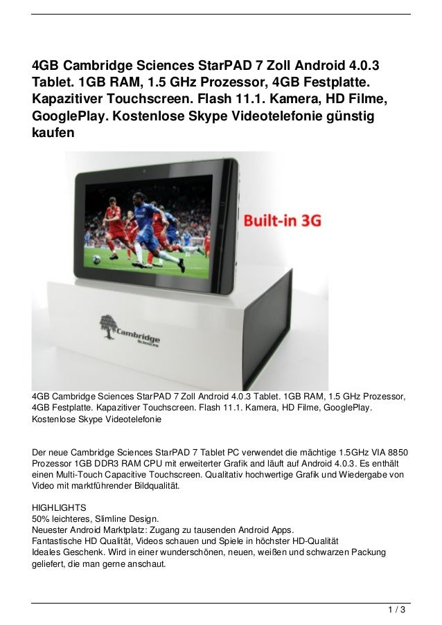 4GB Cambridge Sciences StarPAD 7 Zoll Android 4.0.3Tablet. 1GB RAM, 1.5 GHz Prozessor, 4GB Festplatte.Kapazitiver Touchscr...