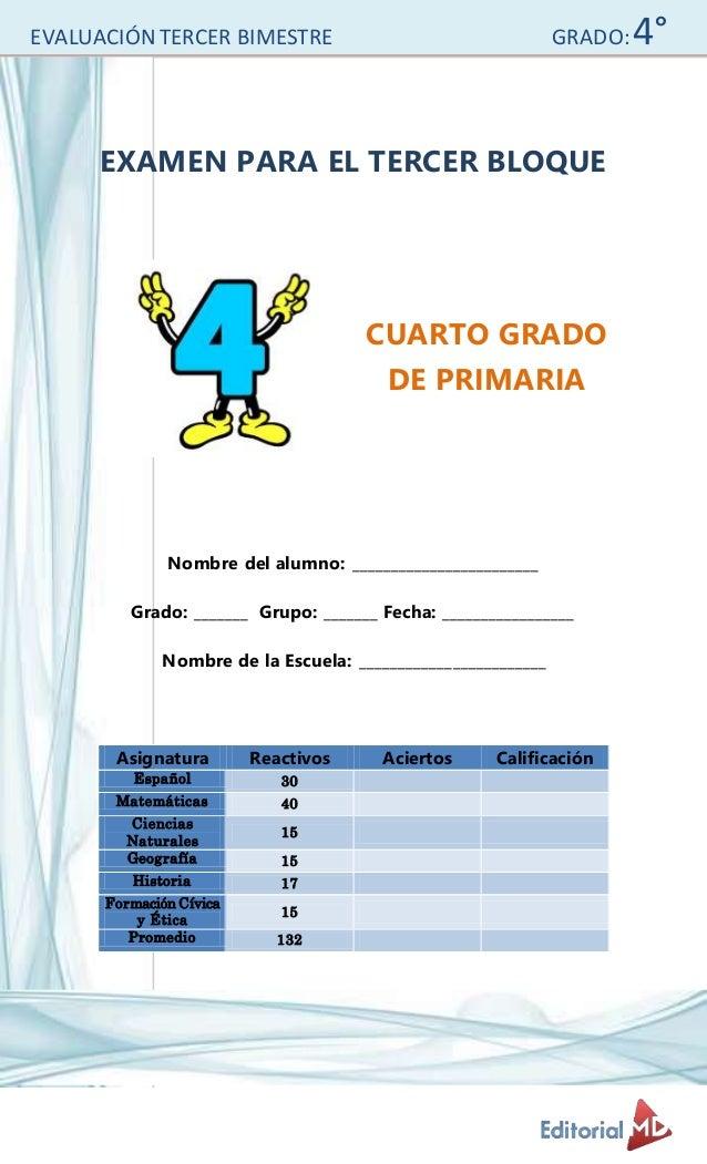 Examen para primaria cuarto grado for Cuarto grado de primaria