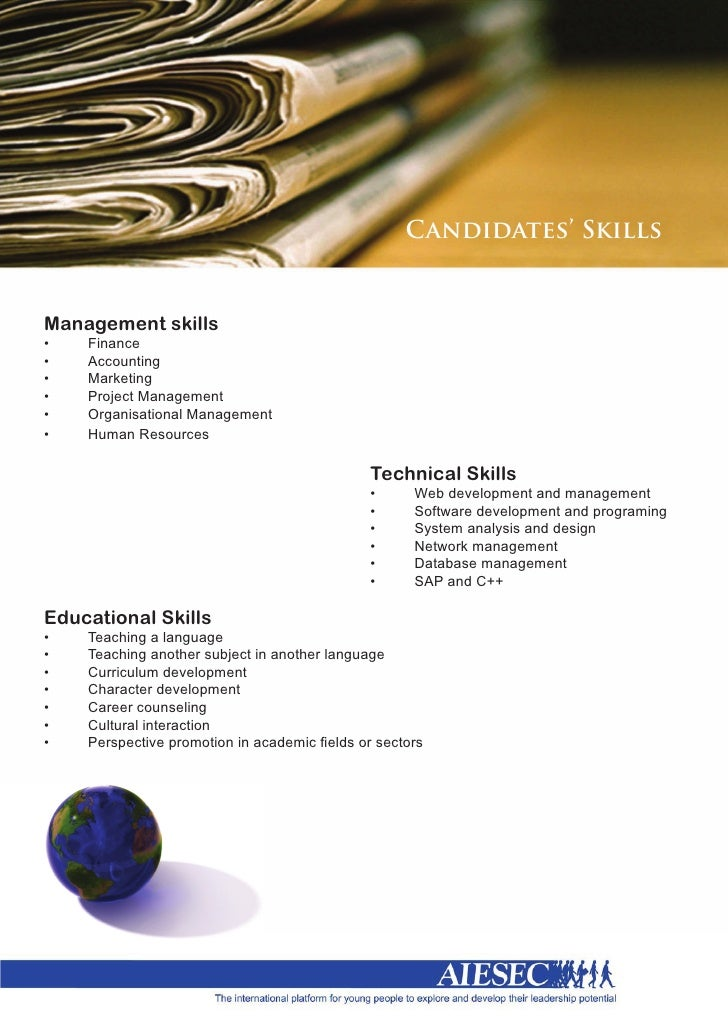Candidates' Skills   Management skills •	   Finance •	  ...