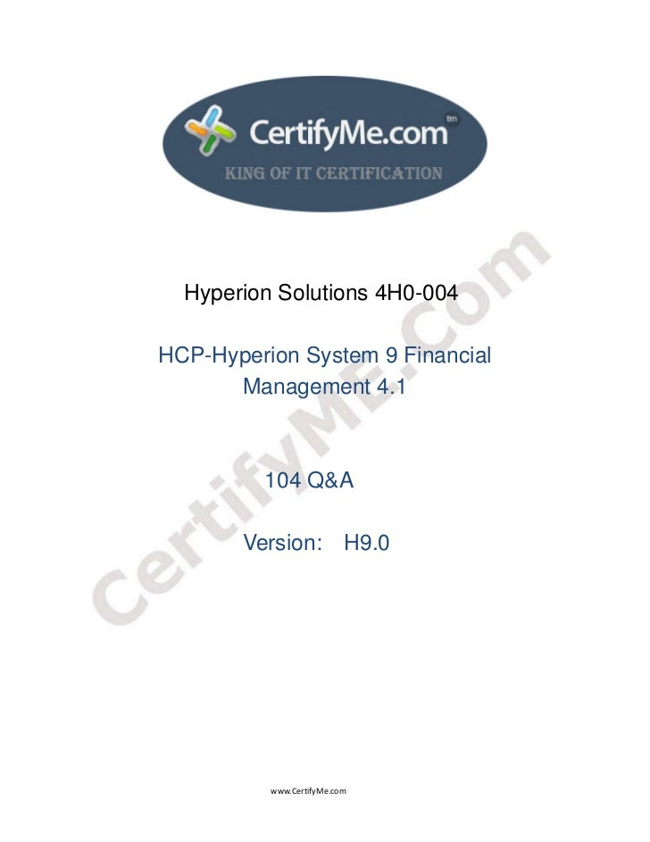 Hyperion Solutions 4H0-004                              HCP-Hyperion System 9 F...
