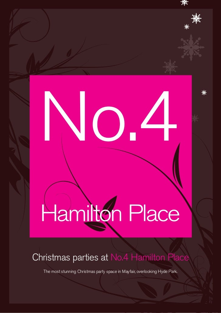 Christmas parties at No.4 Hamilton Place  The most stunning Christmas party space in Mayfair, overlooking Hyde Park.