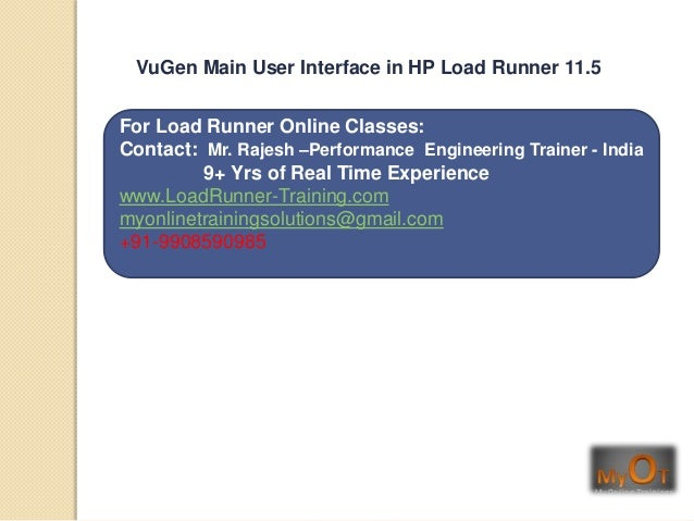 HP load runner 11.5 Vugen main user interface