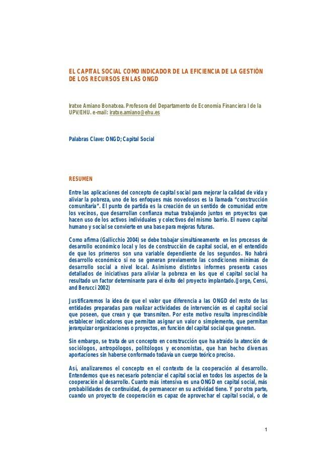 1 EL CAPITAL SOCIAL COMO INDICADOR DE LA EFICIENCIA DE LA GESTIÓN DE LOS RECURSOS EN LAS ONGD Iratxe Amiano Bonatxea. Prof...
