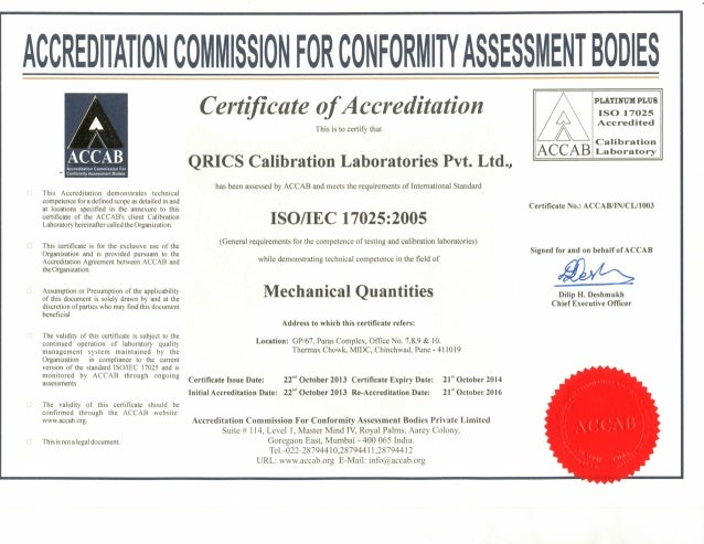 ACCREDITATION This Accreditation demonstrates technical competence for a defined scopeas detailed in and at locations spec...