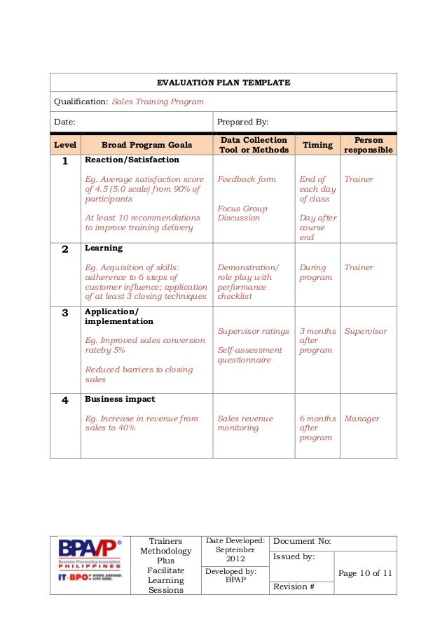 Pictures Effective Training Evaluation Plan Pictures to Pin on – Program Evaluation Template