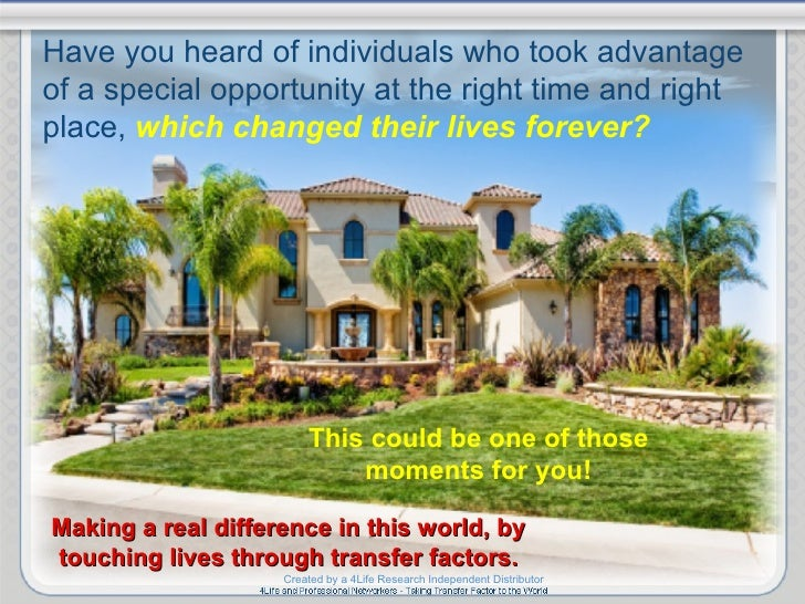 This could be one of those moments for you! Making a real difference in this world, by touching lives through transfer fac...