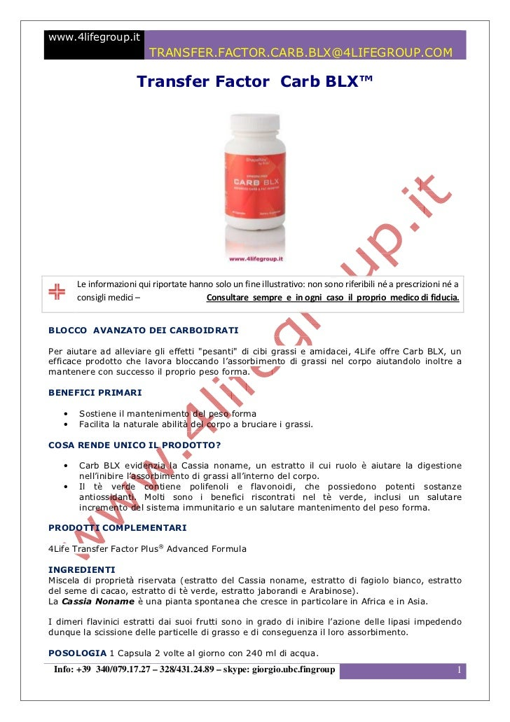 Transfer Factor Carb BLX - www.4lifeitalia.info
