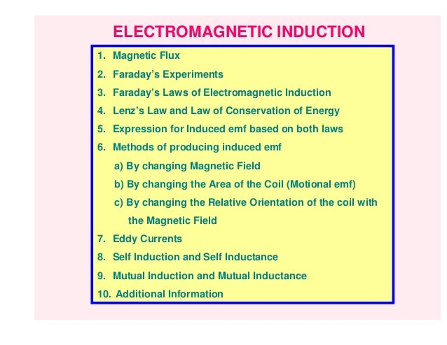 ELECTROMAGNETIC INDUCTION1. Magnetic Flux2. Faraday's Experiments3. Faraday's Laws of Electromagnetic Induction4. Lenz's L...