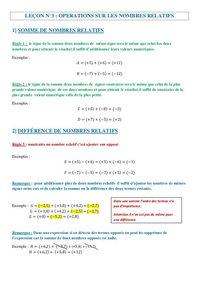 LEÇON N°3 : OPERATIONS SUR LES NOMBRES RELATIFS1] SOMME DE NOMBRES RELATIFSRègle 1 : le signe de la somme deux nombres de ...