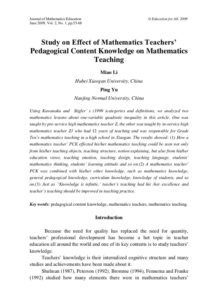 Journal of Mathematics Education                                    © Education for All, 2009June 2009, Vol. 2, No. 1, pp....