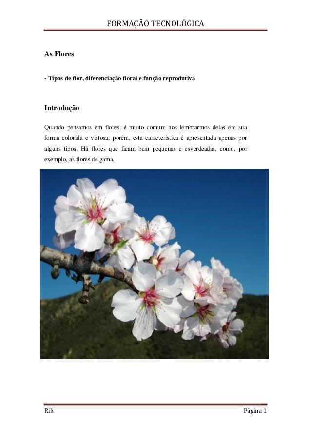 FORMAÇÃO TECNOLÓGICARik Página 1As Flores- Tipos de flor, diferenciação floral e função reprodutivaIntroduçãoQuando pensam...