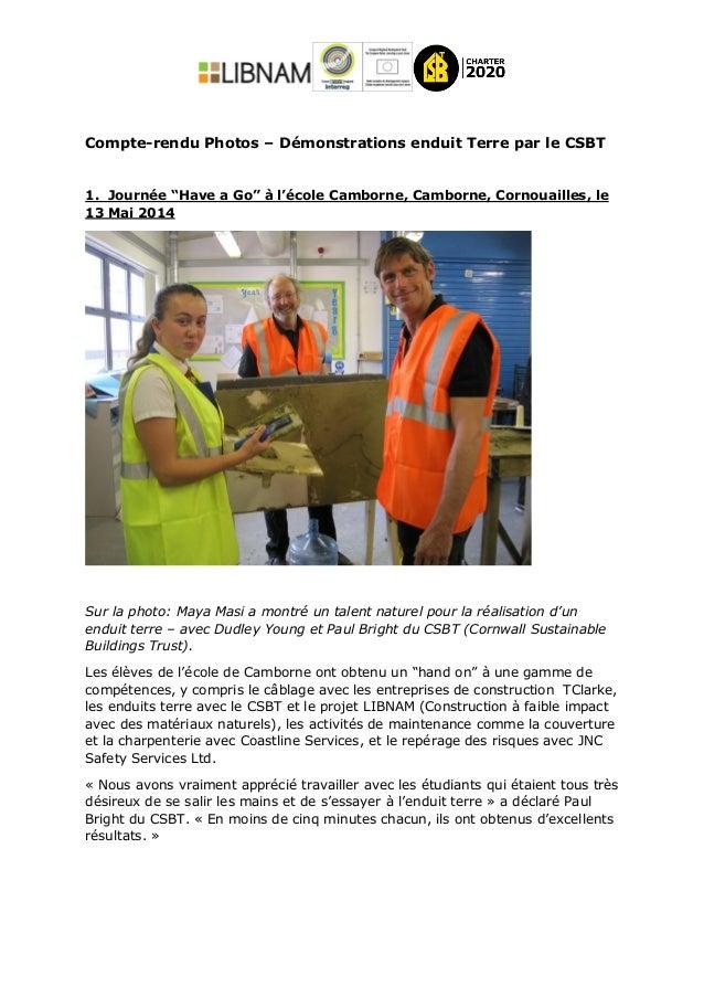 """Compte-rendu Photos – Démonstrations enduit Terre par le CSBT 1. Journée """"Have a Go"""" à l'école Camborne, Camborne, Cornoua..."""
